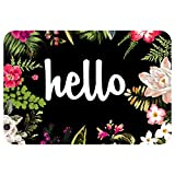 ZBLX Hello Flowers Doormat Entrance Mat Floor Mat Rug Indoor/Outdoor/Front Door/Bathroom Mats Rubber Non Slip(30''x18'',45cmx75cm)