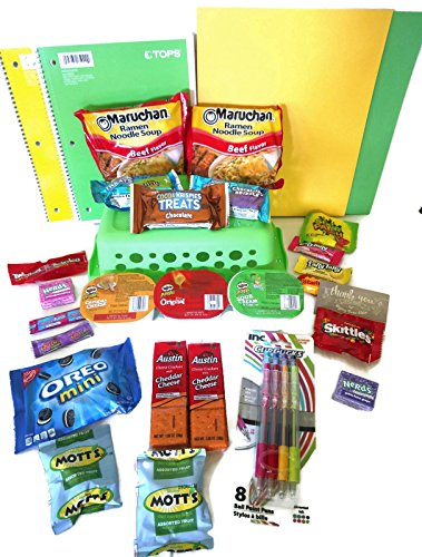 Back to School Essential Supplies Kit - College Snack Supply Basket College Ruled Paper - 29 Piece Basket Care Package - College Gifts for Girls and Guys -