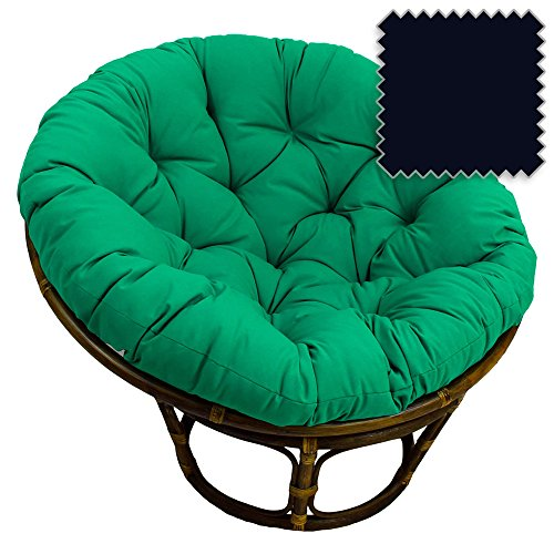 42-Inch Bali Rattan Papasan Chair with Cushion - Solid Twill Fabric, Navy Blue - DCG Stores Exclusive