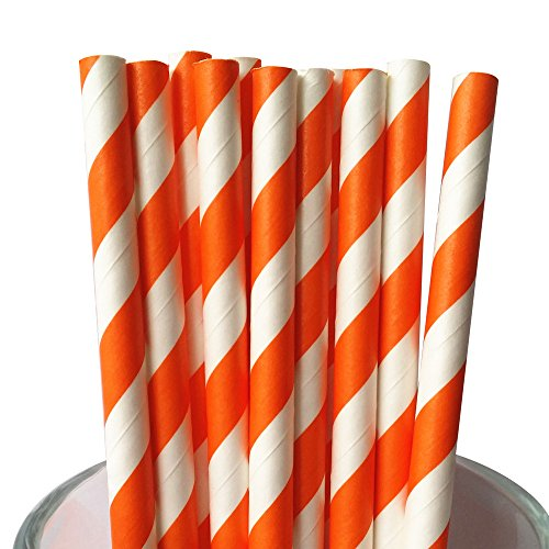MY PAPER Biodegradable Paper Straws 7.75 Inch Decorative Striped Paper Straws 25 PACK (Orange)