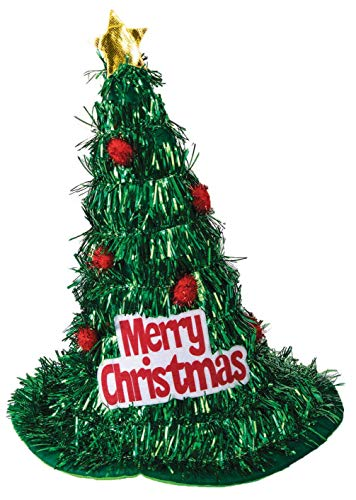 Forum Men's Christmas Tree Tinsel Hat, Green, One