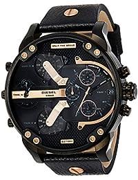 Men's DZ7350 Mr Daddy 2.0 Black Ip Black Leather Watch