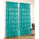 """Mk Collection Gypsy Crushed Ruffle Sheer Curtains - 55"""" Width By 84"""" Inch Length (turoquise)"""