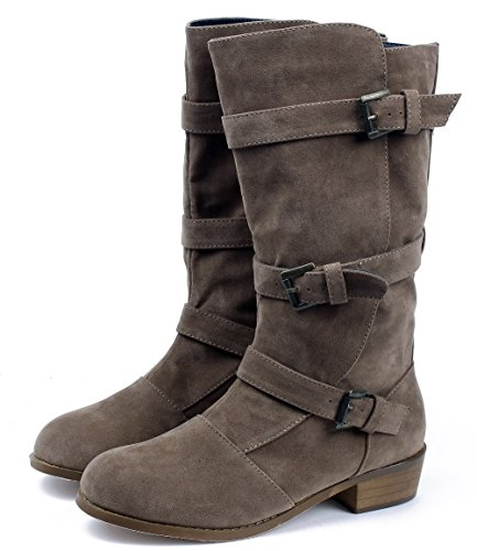 AgeeMi Shoes Mujer hebillas Suede Tacón Grueso Sólido Caña Media Botas Gris Claro
