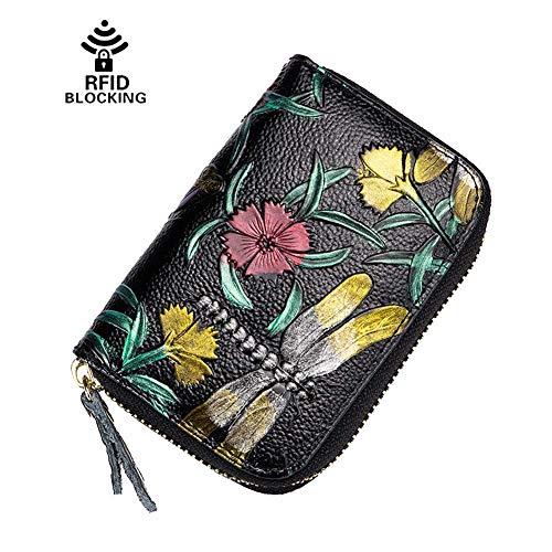 Credit Card Organizer Wallet-Welegant Dragonfly RFID Blocking Genuine Leather Zipper Small Wallet Purse Case for Women Ladies Teen Girls (Rose Flower, Dragonfly)
