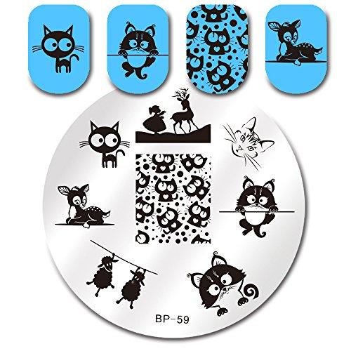 Born Pretty Nail Art Stamping Template Image Plate Cat Deer Sheep BP59