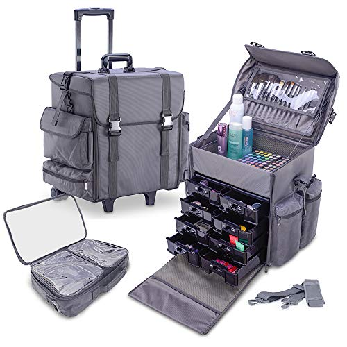 (KIOTA - Professional Beauty Makeup Artist Case on Wheels, Soft Cosmetic Case with Trolley and Storage Drawers, Side Compartments and Brush Holders, ULTIMATE Series - Grey)