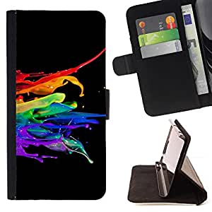DEVIL CASE - FOR Samsung Galaxy S6 EDGE - Abstract Color SPlash - Style PU Leather Case Wallet Flip Stand Flap Closure Cover