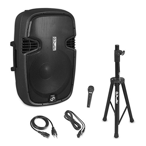 "Pyle PPHP155ST Wireless Portable PA Speaker System - 1500W High Powered Bluetooth Compatible Active Outdoor Sound Speakers w/ USB SD MP3 RCA - 35mm Mount, Stand, Microphone, Power Cable, Black, 15"" from Pyle"