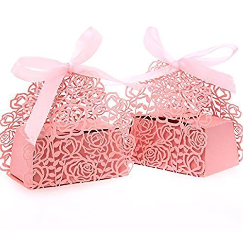 PONATIA 50pcs/Lot Laser Cut Pearl Paper Party 2 IN1 Rose Flower Wedding Favor Ribbon Candy Boxes Gift Box (Pink -