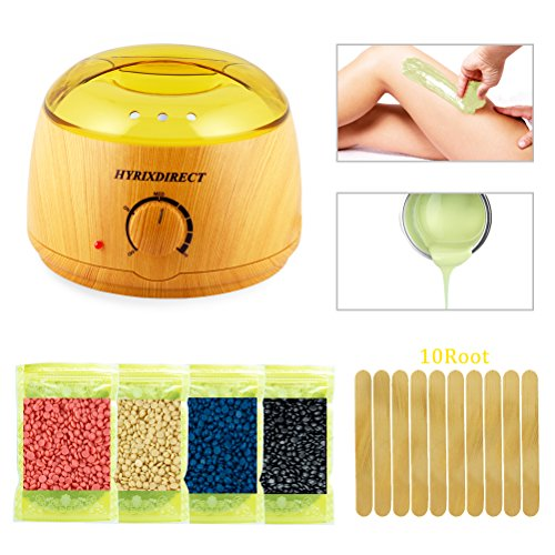 [2018] Hot Wax Warmer Hair Removal Kit Wood Pattern Wax Warmers Heater Waxing Melts with 4 Flavors Hard Wax Beans 10 Wax Applicator Sticks