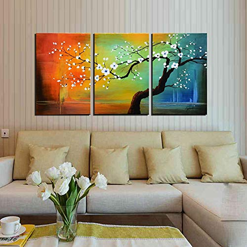 Flower Oil Painting White Plum Blossom Wall Art Landscape Floral Wall Picture Framed Artwork 3 Piece Set Ready to Hang for Living Room Bedroom Home Decoration 24x48inch
