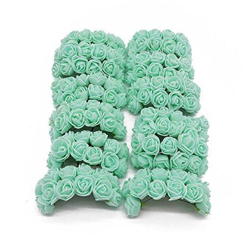 YONGSNOW 288pcs(2pack)/lot 2cm Mini PE Foam Rose Artificial Flower Bouquet Home Garden Supplies (Mint Green) from YONGSNOW