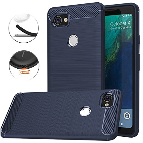Google Pixel XL 2 Case, Google Pixel XL2 Case, Dretal Carbon Fiber Shock Resistant Brushed Texture Soft TPU Phone case Anti-fingerprint Flexible Full-body Protective Cover For Google Pixel 2 XL (Navy)
