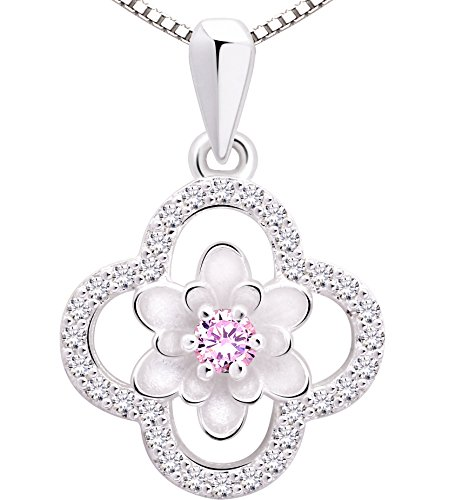ALOV Jewelry Sterling Silver Four Leaf Clover Cubic Zirconia Pendant Necklace - Leaf Cubic Zirconia Pink