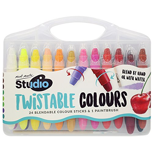 Mont Marte Non-toxic Super Crayons Set of 24 Colors, 1 Paint brush -Twistable, Bright and Washable (Watercolor Crayon Set)
