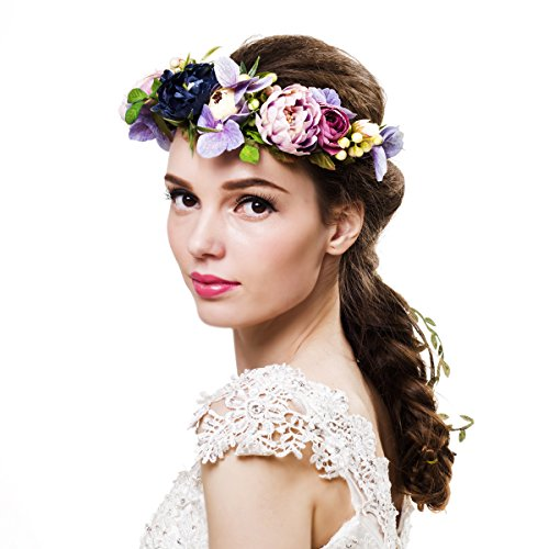 Newly arrived Rattan Flower Vine Crown Tiaras Necklace Belt Party Decoration (Multicolor-A)]()