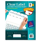 Wholesale CASE of 10 - Avery Prepunched Index Maker Dividers w/ Tabs-Index Maker, Laser, Punched, 5-Tabs, 5 ST/PK, White