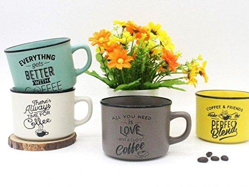 Lote 4 TazasTime For Coffee - Detalles y Recuerdos para Bodas Originales - Tazas Frases Cafe