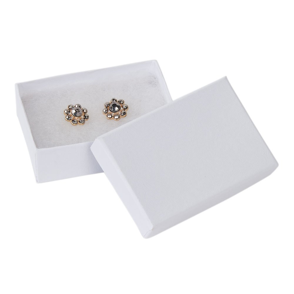 SSWBasics 3 1/16 x 2 1/8 x 1 inch White Embossed Cotton Filled Jewelry Boxes - Case of 200