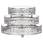 3-Piece Round Mirror-Top Cake Stand Risers Dessert Tray Set 5 This 3 piece cake stand riser set is perfect to showcase your favorite cakes and desserts at any wedding, birthday party, baby shower, anniversary, quinceanera, and any other event or special occasion Dimensions: The top surface plate diameter from small to large is 8 inches, 10 inches, and 12 inches wide, respectively; they all stand at 2.5 inches tall, and are supported by 3 metal ball legs The design features mirrored surface tops and an ornate hand-crafted steel frame