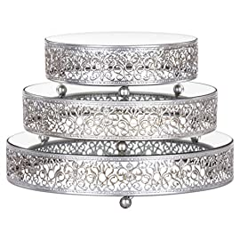 Amalfi Decor Cake Stand Plateau Riser Set of 3 Pack, Mirror Dessert Cupcake Pastry Candy Display Plate for Wedding Event Birthday Party, Round Metal Pedestal Holder, Gold 1 This 3 piece cake stand riser set is perfect to showcase your favorite cakes and desserts at any wedding, birthday party, baby shower, anniversary, quinceanera, and any other event or special occasion Dimensions: The top surface plate diameter from small to large is 8 inches, 10 inches, and 12 inches wide, respectively; they all stand at 2.5 inches tall, and are supported by 3 metal ball legs The design features mirrored surface tops and an ornate hand-crafted steel frame