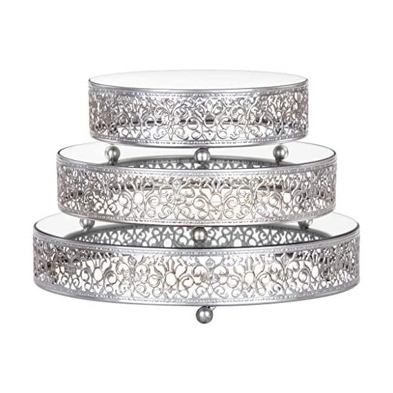 Amalfi Decor Cake Stand Plateau Riser, Round Metal Pedestal Holder, Silver, Set of 3 1 Individual diameters of the trays are 8 inches, 10 inches, 12 inches and are 2.5 inches tall Ornate hand-crafted baroque style steel frames, decorated with reflective mirrored surface tray tops Painted in a food safe water-based silver color paint and finished with a semi-matte metallic look; Can be used to serve food and appetizers or used as buffet stands