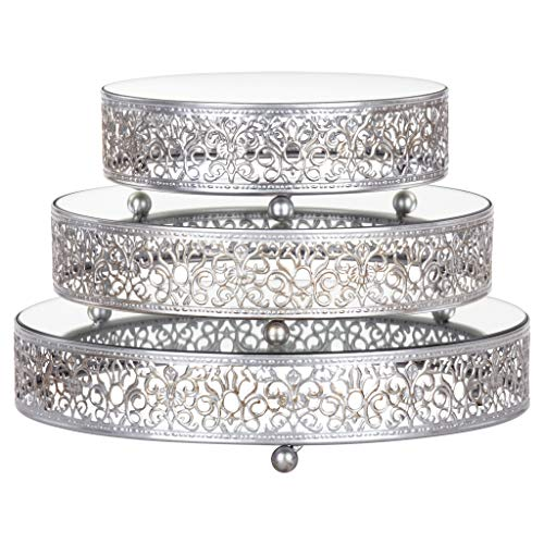 3-Piece Round Mirror-Top Cake Stand Risers Dessert Tray Set (Silver) by Amalfi Décor