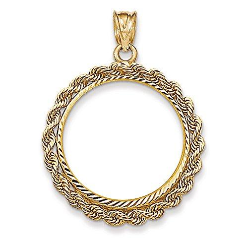 14k White Gold Handmade Rope Diamond Cut Prong 1/4oz American Eaglel Coin Bezel