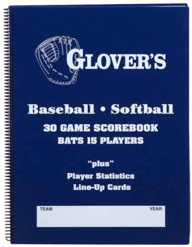 Glover's Scorebooks 9 to 15 Player Baseball/Softball Scorebook (30 Games)