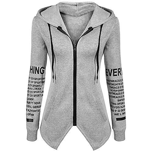 Hooded Sweatshirt With Zipper (SunBabel Women's Casual Letters Print Hem Zipper Hooded Sweatshirt Grey XXL)