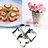 Vacally 4 pack/set Cake Cutting Aluminium Alloy Gingerbread Biscuit Mold Egg Pancake Maker
