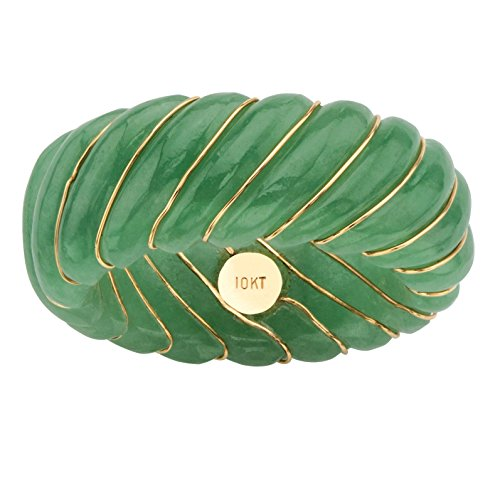 Genuine Green Jade and 10k Yellow Gold Inlaid Shrimp-Style Ring Band