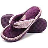 Wishcotton Women's Adjustable Memory Foam Spa Thong House Shoes Fluffy Flip Flop Slippers (M, Wine Red)
