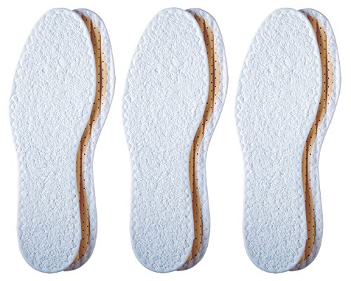 Pedag Washable Summer Pure Cotton Terry Barefoot Insole, White, US L8/EU 38, (Pack of 3)
