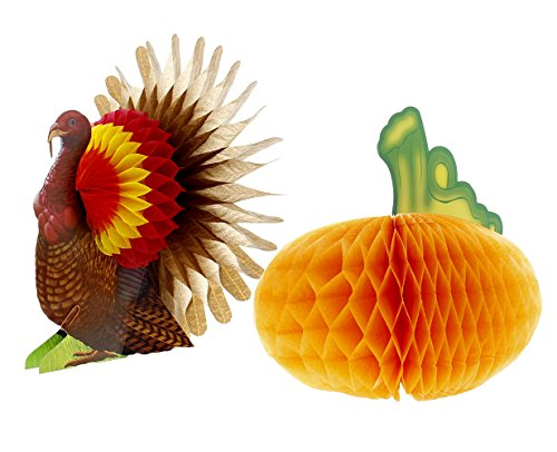 Honeycomb Centerpiece Harvest - 2 pack - Turkey & Pumpkin - Thanksgiving Table (Halloween Centerpiece Ideas Cheap)
