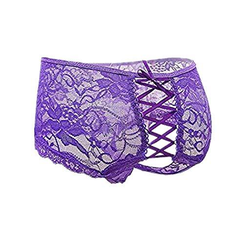 Crotchless Boyshort - Lvoydor Women's Sexy Underwear Plus Size Lace Panties(FBA) Purple
