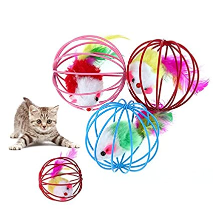 Amazon.com : Best Quality 3pcs/lot Funny pet Kitten cat Playing Mouse Rat mice Ball cage Toys Home Gatos jouet Chat juguetes para Gatos katten speelgoed ...