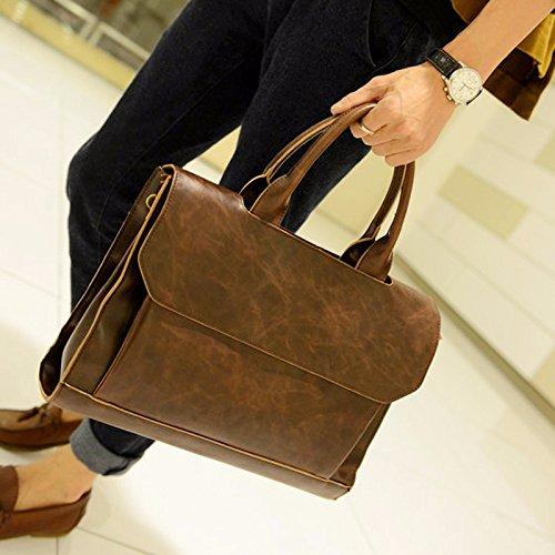ZHUDJ New Tide Package Fashion Casual Men'S Bag Men'S Retro Shoulder Bag Business Briefcase British Wind Handbag, Black Brown