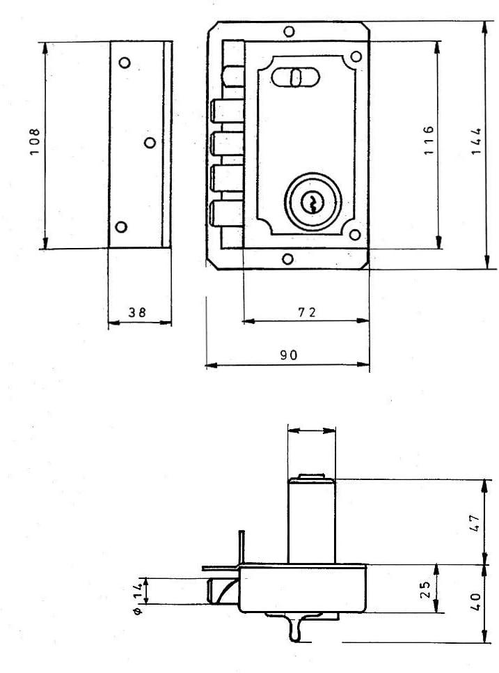 FAC 3013028 Cerradura S-90//c Dorada Izquierda