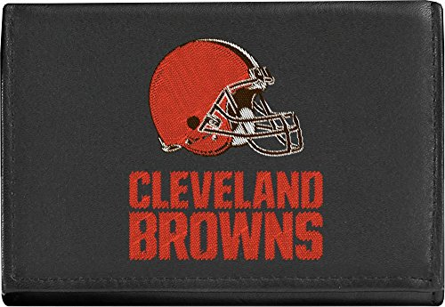 Cleveland Browns Nfl Leather - NFL Cleveland Browns Embroidered Leather Trifold Wallet