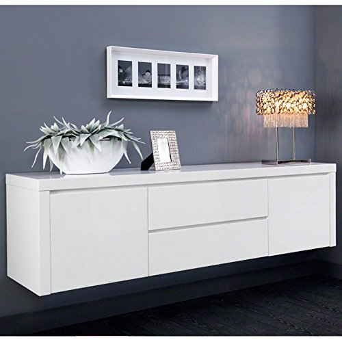 salesfever sideboard h ngeschrank mit 2 schubladen und softclose wei hochglanz lenit g nstig. Black Bedroom Furniture Sets. Home Design Ideas