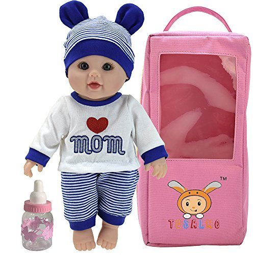 TUSALMO 12 inch Vinyl Newborn Baby Dolls for Children's and Granddaughters Holiday Birthday, Lifelike Reborn Washable Silicone ()