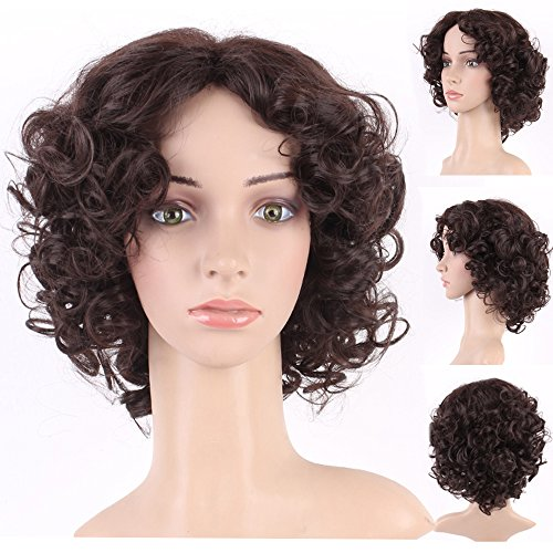 S-noilite Medium Short Curly Bob Wig for Black Women Wavy Natural Cosplay Party Costume Daily Fluffy Bob Full Head Wigs Synthetic Hair (Dark Brown-10