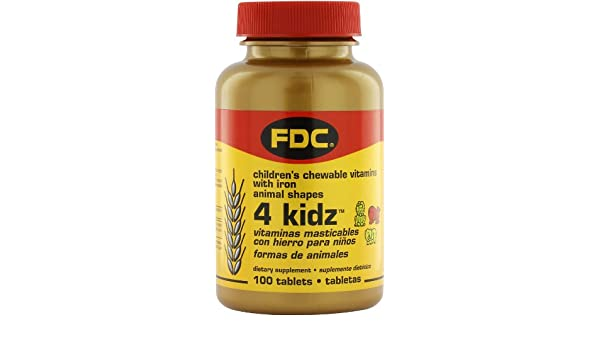 Amazon.com: FDC Vitamins 4 Kidz Childrens Chewable Vitamins with Iron - 100 Tablets: Health & Personal Care