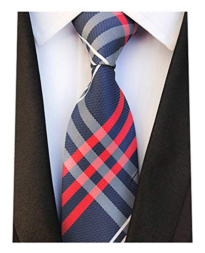 L04BABY Men's Modern Navy Red Stripe Ties Tartan Checks Plaid Silk Woven Necktie