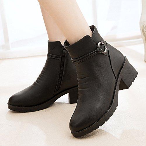 41 Et Chaussures chaussures Khskx Maman Black Grossiers Bottes Avec Des Chaudes Cachemire vRwxU5Sq