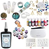 INNICON 250g Clear Casting and Coating Resin 13 Liquid Pigments 11 Silicone Molds 12X Glitter Accessories 14 Open Back Bezels Traceless Tape Lamp For Handmade Necklaces Bracelets Charms Diamond Gem