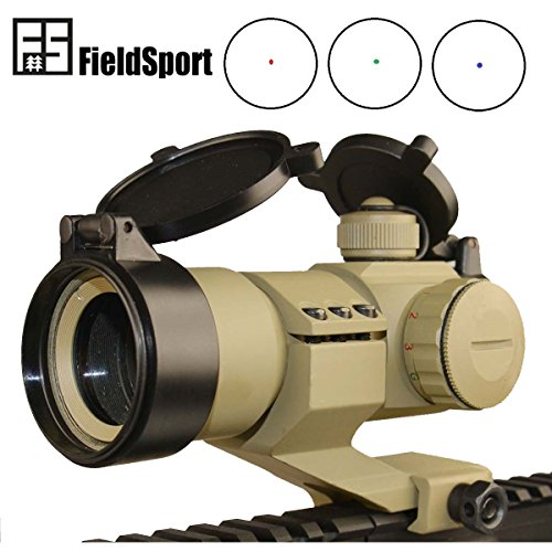 GlobalPioneer® Field Sport 1x30 Cantilever Mount Red Blue and Green Micro Dot Sight Dark Earth