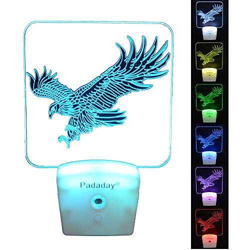 - Padaday Eagle Wall Plug-in Light, LED Night Light for Kids, Dusk to Down Sensor, 7 Color Changing Switch, Nursery lamp